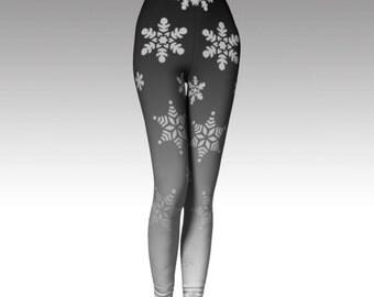Snowflake Leggings, Gray Leggings, Ombre Leggings, Premium Leggings, Winter Leggings, Winter Fashion, Activewear, Printed Leggings, Boho Art