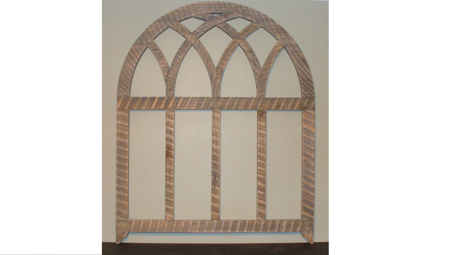 Rustic Weathered Wood Arched Window Frame By
