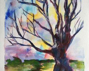 Framed Original Acrylic Tree Painting