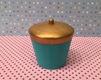 Gold and Teal Pot
