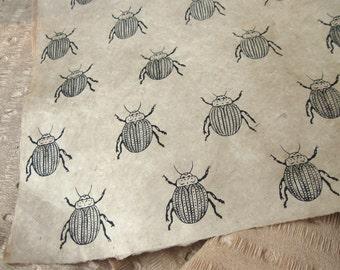 Beetle Pattern on Tan Woodblock Printed Lokta Paper Sheet 20x30 inches