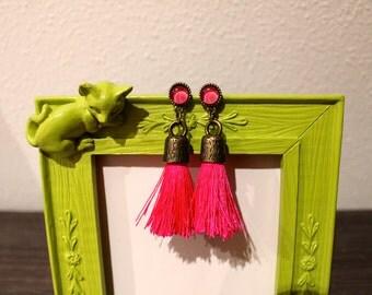Bronze with Fuchsia tassels earrings