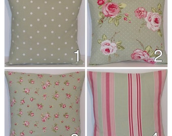 """Clarke and Clarke Mix and Match  Sage Green Pink Floral Stripe Dotty 16"""" Cushion Cover Choice of Cream Envelope Back or Zipped Same Fabric"""