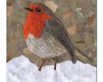 Snowy Robin, Christmas Card, Robin Card, Blank Robin Card, Seasons Greetings Card