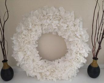 "SALE!  White Fabric Rag Wreath 18"""