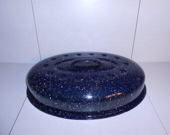Blue & White Speckled Enamelware Roasting Pan Lid/Cover