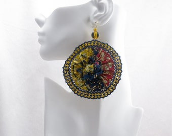 African Bloom #6 - Large Round Fabric Earrings
