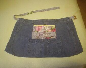 Vendor Apron - Denim & Vintage Barkcloth Grey Print