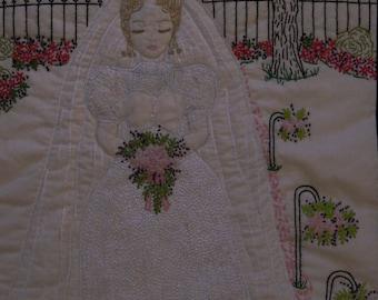 MINDY VINTAGE GIRL Hand Embroidery Pattern - Vintage Wedding Embroidery, Rock Garden Creations, Vintage Wedding Dress, Vintage Bride