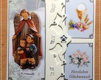 Mini album communion, confirmation, photo album, handmade, memories for the special day, 14 x 14 cm