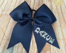 Monogrammed Cheer Dance Bow, Personalized Bow, Custom Bow, Dance Bow, Cheer Bow, Pony Tail Holder Bow, School Spirit Bows, School Color Bow