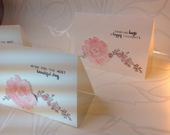 Set of 3 cards, card set of three, floral cards, Flower cards, pink Flower cards, blank cards, handmade cards,