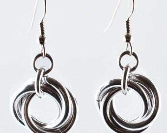 Single Knot Earrings - Silver Color