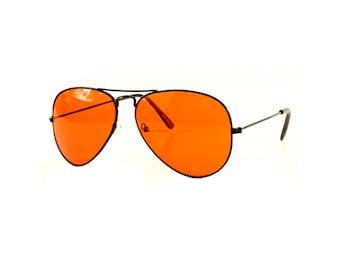 Orange Tint Aviator Sunglasses (Black Frames)