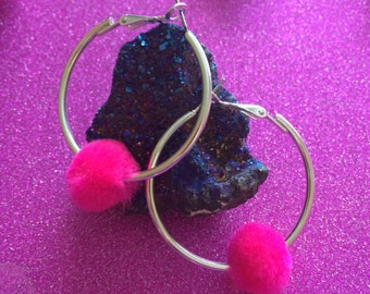 Bright pink Pom Pom Silver Hoop Earrings