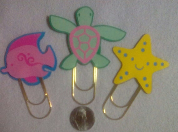 Sea animals paper clips, planner paper clips, large paper clips, gold paper clips