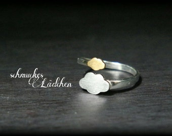 """925 Silver ring partly gold plated """"partly cloudy cloudy"""""""