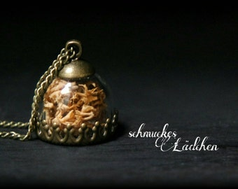 Antique bronze necklace glass dome real Moss