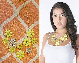 Neon Crystal Daffodils  Bib Statement Necklace