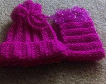 little girls ribbed pompom hat and ribbed headband with flowers