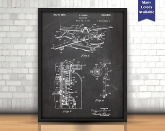 early helicopter patent poster helicopter decor aviation decor airplane nursery aviation wall - Aviation Decor