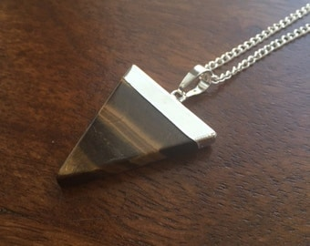 Tigers Eye Natural Crystal Triangle Necklace- The Courageous One