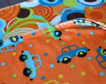 Minky Cot blanket. orange cars and circles