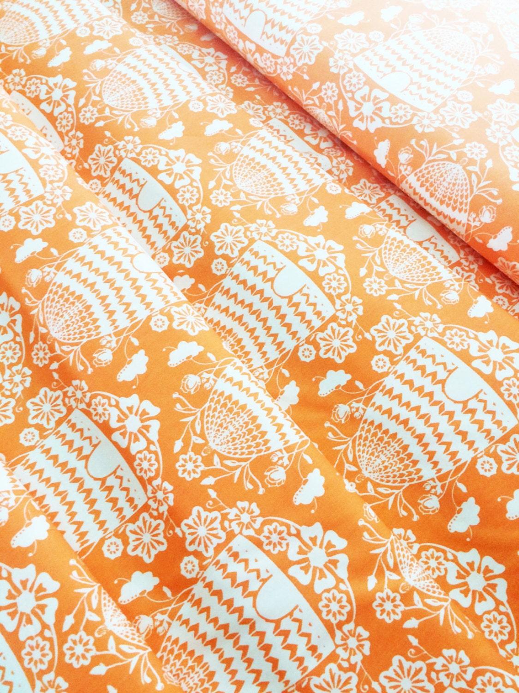 bee fabric honey house peach bumble bee skep bee hive fabric