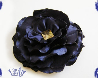 Fabric Flower, deep blue flower