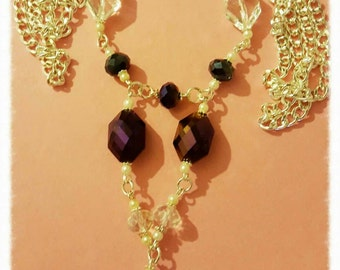 Gorgeous Long line Purple Black and Pale Blue Crystal beaded necklace Free shipping