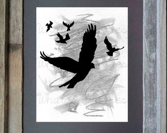 Birds in Flight - charcoal