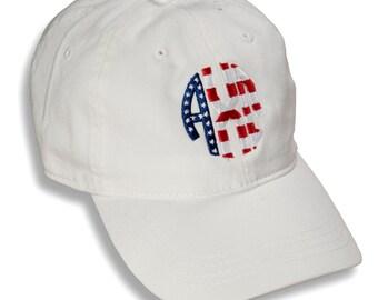 AXO  Alpha Chi Omega Sorority Monogrammed Patriotic Baseball Hat.