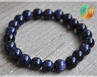 Blue Goldstone Bracelet, Healing Crystal Bracelet, Goldstone Jewelry, Elastic bracelet, Chakra Stones, Blue Goldstone beads, 8mm beads, Sun