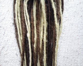 Brown and blond synthetic dreads. Double ended dreadlocks.
