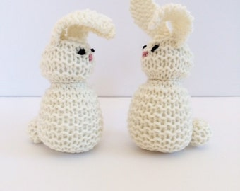 Hand Knit White Bunny Rabbit - Waldorf Toys - Easter Basket Toy - Natural Toys - Baby Shower Gift - Pretend Play - Easter Gift