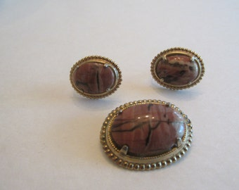 Gorgeous Vintage Picture Jasper Brooch and Earrings Set