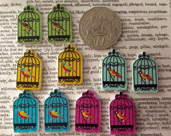 8 Bird Cage Wooden Buttons