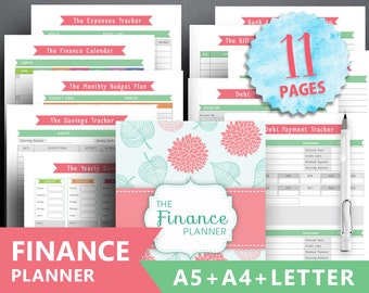 "Financial planner printable: ""FINANCE TRACKER"" Letter + A4 + A5, debt payment expenses tracker, monthly savings, money planning bill payment"