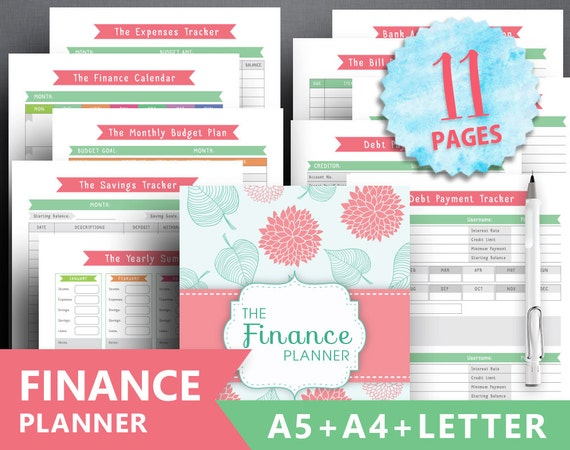 Financial planner printable: FINANCE TRACKER