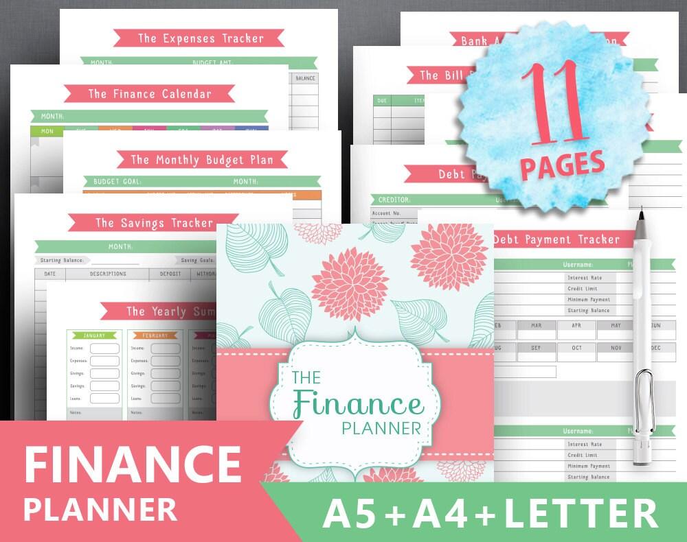 Financial planner printable: FINANCE TRACKER
