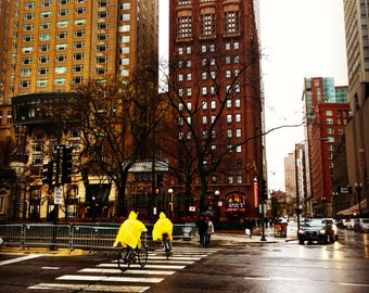 Rainy day in Chicago, Chicago Photography, Yellow Rain Coat, Streets of Chicago, Chicago Wall art