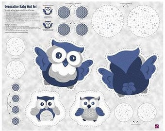 """Nursery Fabric, Owl fabric:  Baby Boutique - Decorative Owl Panel Pillow Throw  100% cotton Fabric by the yard 36""""x43"""" (K281)"""