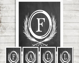 DIY PRINTABLE/Fall Letters/Fall/Words/Chalkboard Letters/Instant Download/Autumn/Fall Season/ Pennants/Frameable/Wheat Grass Letters