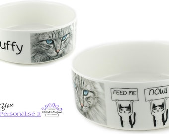 Personalised Cat Bowl - Feed Me Now!