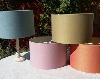 LINEN TAFFETA - 40cm Pendant/Table Drum Shades in Lewis & Wood fabric  (40% silk)