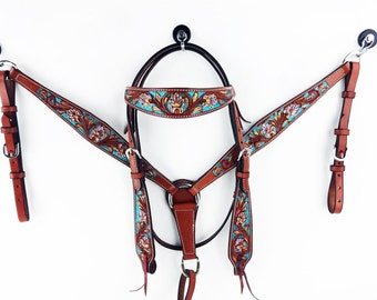 Handmade Western Barrel Trail Horse Turquoise,Teal Show  Leather  Bridle Breast Collar Tack Set Made To Order