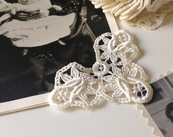LACE - White Venice Lace Appliques Trims, Accents, Venice Lace  Vintage  New Old Stock    Size: approx 1 3/4 x 2 1/2 inches