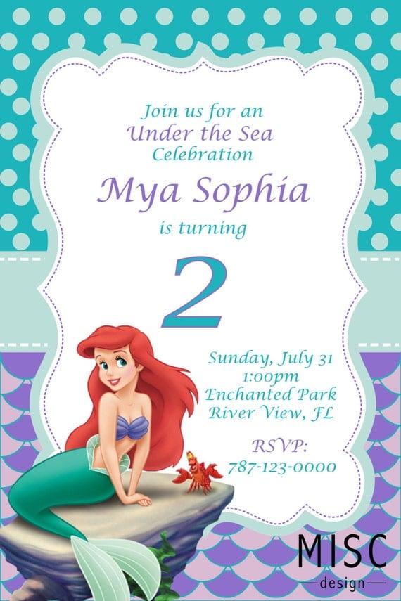 Under the Sea Birthday Invitation Little Mermaid Invitation