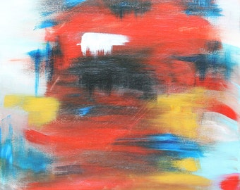 """Abstract Acrylic Canvas Painting, FIRE  20"""" x 16"""" x 0.75"""""""
