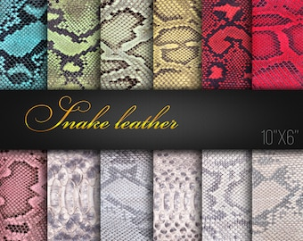 Digital Craft Papers / Natural Snake Leather Textures / Pack of 12 JPG / Snake Skin / Reptile leather / Digital Scrapbook Paper / Real Photo